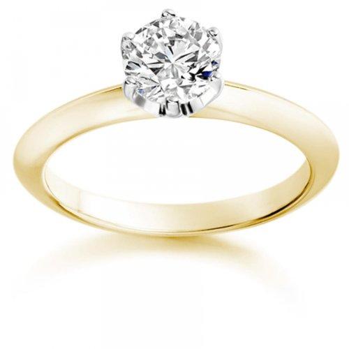 Diamond Manufacturers - Bague de fiancailles avec diamant Rond Femme - Or jaune 750/1000 (18 cts) - Diamant 1.30 ct 1 Bijoutier Boutique Or jaune 750/1000 (18 cts) 1.30 carat Couleur-G Pureté-VVS2 Bague de fiancailles avec Diamant certifié de qualité supérieure. Le diamant est serti sur une monture à Griffes en Or jaune 750/1000 (18 cts).