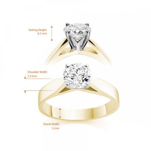 Diamond Manufacturers - Bague de fiancailles avec diamant Rond Femme - Or jaune 750/1000 (18 cts) - Diamant 1.31 ct 6 Bijoutier Boutique Or jaune 750/1000 (18 cts) 1.31 carat Couleur-E Pureté-VVS2 Bague de fiancailles avec Diamant certifié de qualité supérieure. Le diamant est serti sur une monture à Griffes en Or jaune 750/1000 (18 cts).