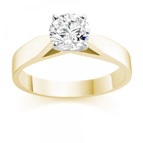 Diamond Manufacturers - Bague de fiancailles avec diamant Rond Femme - Or jaune 750/1000 (18 cts) - Diamant 1.31 ct 2 Bijoutier Boutique Or jaune 750/1000 (18 cts) 1.31 carat Couleur-E Pureté-VVS2 Bague de fiancailles avec Diamant certifié de qualité supérieure. Le diamant est serti sur une monture à Griffes en Or jaune 750/1000 (18 cts).