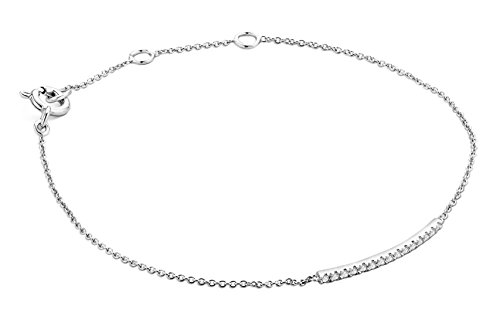 Miore - Bracelet extensible - Or blanc 9 cts - Diamant 0.11 cts - 18 cm - MY021B