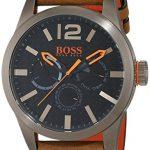 BOSS Orange - 1513240 - Montre Homme - Quartz - Analogique - Bracelet cuir Marron 4 Bijoutier Boutique Mouvement à sous-cadrans multiples (jour, date et affichage de l'heure au format 24heures). Boîtier en acier inoxydable à placage ionique kaki. Bracelet en cuir nubuck.
