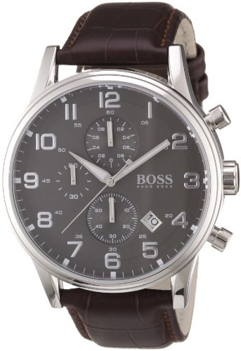 Hugo Boss - 1512570 - Montre Homme - Quartz Analogique - Cadran - Bracelet Cuir Marron 1 Bijoutier Boutique Mouvement à quartz. Boîtier en acier inoxydable rond. Étanche jusqu'à 30mètres.