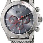 Montre Homme Hugo Boss 1513443 4 Bijoutier Boutique Mouvement à quartz chronographique (compteurs des minutes et des secondes et affichage de l'heure au format 24heures). Cadran gris. Boîtier en acier inoxydable gris à placage ionique.