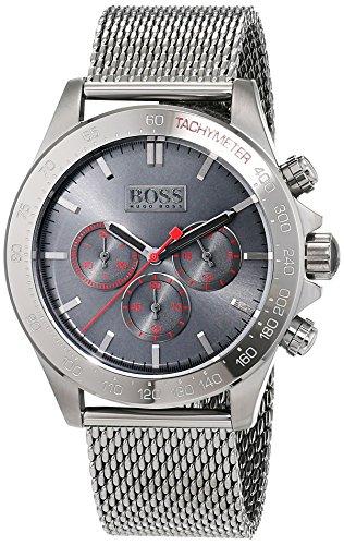 Montre Homme Hugo Boss 1513443 2 Bijoutier Boutique Mouvement à quartz chronographique (compteurs des minutes et des secondes et affichage de l'heure au format 24heures). Cadran gris. Boîtier en acier inoxydable gris à placage ionique.