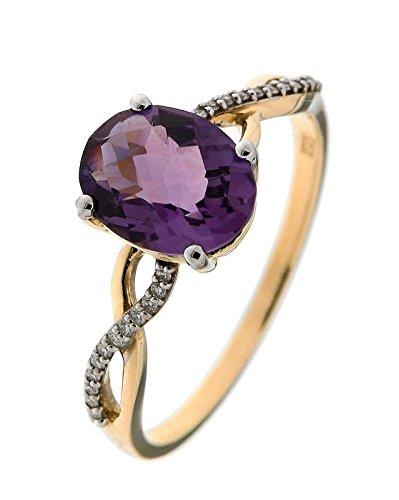Bague Or 375 Amethyste ref 42550 1 Bijoutier Boutique Bague Or Jaune 375 Améthyste Ovale 8x6mm et Diamant, Bague en Or Jaune 375, Améthyste Ovale taille dôme de 8x6mm sertie à griffes, Poids Améthyste : 1,5 carat, 24 diamants de 0,8mm de diamètre sertis à grains, Poids total diamant : 0,06 carat / Qualité H Si, Métal : Or Jaune 375, Poids Métal : 1,5gr., bijou en Or Jaune 375 pour Femme Livré sous écrin avec certificat d'authenticité Or 375