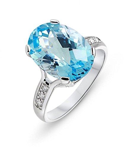 Bague Or 750 Topaze bleue traitee ref 46368 1 Bijoutier Boutique Bague Or Blanc 750 Topaze Bleue 14x10mm et Diamant, Pierre ovale de 14x10mm (7.2 carats), Entourrage composé de 6 diamants de 1.4mm , Poids total diamant : 0.08 carat, Métal : Or Blanc 750, Poids Métal : 3,55gr., bijou en Or Blanc 750 pour Femme Livré sous écrin avec certificat d'authenticité Or 750