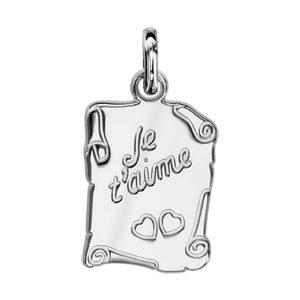 """Pendentifs tendresse Pendentif en argent parchemin gravé """"Je t'aime"""" et 2 coeurs"""" bijouterie 1001 Bijoux"""