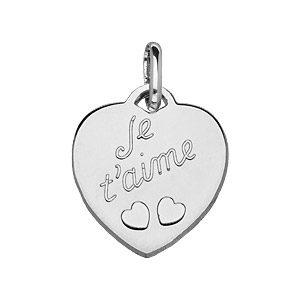 """Pendentifs tendresse Pendentif en argent coeur gravé """"Je t'aime"""" et découpé 2 petits coeurs"""" bijouterie 1001 Bijoux"""