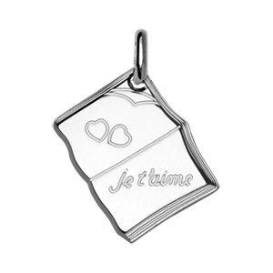 """Pendentifs tendresse Pendentif en argent livre ouvert gravé """"Je t'aime"""" et 2 cœurs"""" bijouterie 1001 Bijoux"""