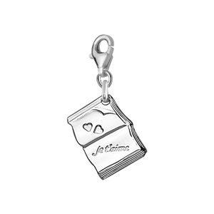 Pendentifs tendresse Pendentif charm's livre je t'aime argent rhodié bijouterie 1001 Bijoux