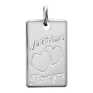 """Pendentifs tendresse Pendentif en argent plaque G.I. rectangulaire gravée """"Je t'aime"""" & """"I love you"""" avec 2 coeurs"""" bijouterie 1001 Bijoux"""