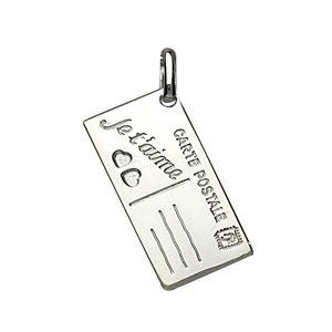"""Pendentifs tendresse Pendentif en argent carte postale gravée """"Je t'aime"""" bijouterie 1001 Bijoux"""