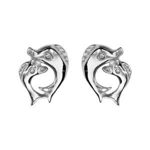 Boucles d'oreilles standard Boucles d'oreilles tige argent rhodié double dauphins bijouterie 1001 Bijoux