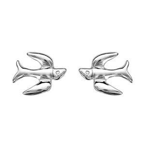 Boucles d'oreilles standard Boucles d'oreilles tige argent rhodié hirondelle bijouterie 1001 Bijoux