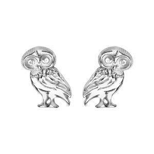 Boucles d'oreilles standard Boucles d'oreilles tige en argent rhodié chouette bijouterie 1001 Bijoux