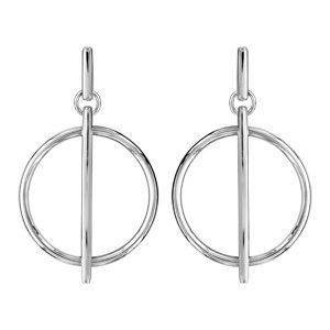 Boucles d'oreilles standard Boucles d'oreilles tige en argent rhodié pendant rond évidé avec baguette lisse bijouterie 1001 Bijoux