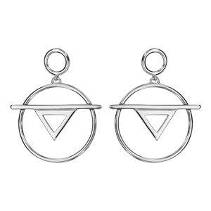 Boucles d'oreilles standard Boucles d'oreilles tige en argent rhodié cercle et triangle évidés bijouterie 1001 Bijoux