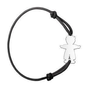 Bracelets prénom Bracelet en argent cordon noir coulissant avec petit garçon au milieu bijouterie 1001 Bijoux