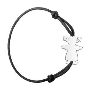 Bracelets prénom Bracelet en argent cordon noir coulissant avec petite fille au milieu bijouterie 1001 Bijoux