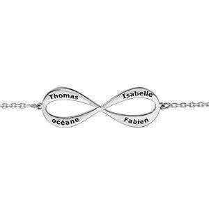 Bracelets prénom Bracelet en argent forme infini à graver 3 ou 4 prénoms 16cm + 3cm bijouterie 1001 Bijoux