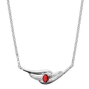 Colliers avec pendentif Collier en argent rhodié chaîne avec pendentif 2 brins torsadés dont 1 lisse et l'autre orné d'oxydes blancs et 1 oxyde rouge au milieu - longueur 43cm + 2cm de rallonge bijouterie 1001 Bijoux