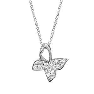 Colliers avec pendentif Collier en argent rhodié chaîne avec pendentif papillon avec 3 ailes pavées d'oxydes blancs sertis - longueur 40cm + 4cm de rallonge bijouterie 1001 Bijoux