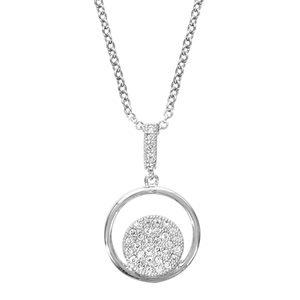 Colliers avec pendentif Collier en argent rhodié chaîne avec pendentif anneau avec rond pavé d'oxydes blancs sertis à l'intérieur et bélière ornée d'oxydes blancs - longueur 40cm + 4cm de rallonge bijouterie 1001 Bijoux