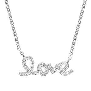 """Colliers avec pendentif Collier en argent rhodié chaîne avec pendentif """"love"""" orné d'oxydes blancs sertis - longueur 40cm + 4cm de rallonge"""" bijouterie 1001 Bijoux"""