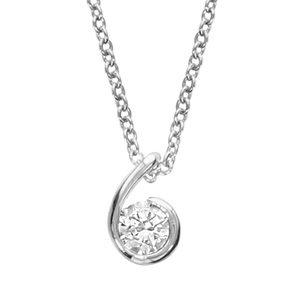 Colliers avec pendentif Collier en argent rhodié chaîne avec pendentif forme escargot avec oxyde blanc au milieu - longueur 40cm + 4cm de rallonge bijouterie 1001 Bijoux