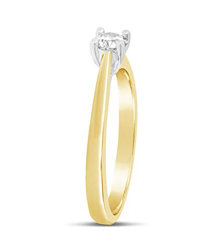 Bague en or jaune 1/4 carat avec diamant pour femme - 4 griffes_50 3 Bijoutier Boutique Cette charmante bague en or jaune est dotée d'un diamant naturel de 1/4 carat d'une grande pureté qui brille Le diamant mesure 4 mm de diamètre et est solidement serti de 4 griffes Si vous souhaitez des conseils, n'hésitez pas à nous contacter, car nous sommes conscients que l'achat de bijoux n'est pas un achat quotidien.