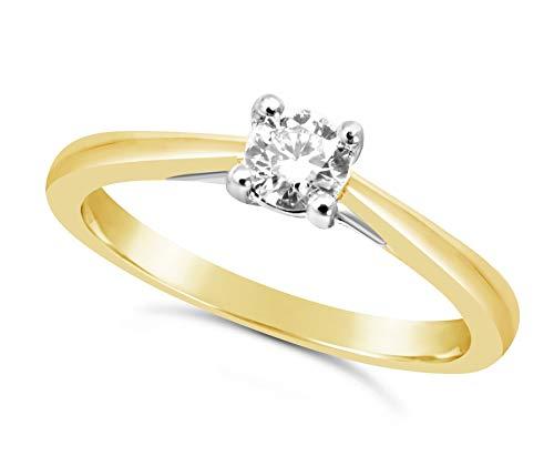 Bague en or jaune 1/4 carat avec diamant pour femme - 4 griffes_50 1 Bijoutier Boutique Cette charmante bague en or jaune est dotée d'un diamant naturel de 1/4 carat d'une grande pureté qui brille Le diamant mesure 4 mm de diamètre et est solidement serti de 4 griffes Si vous souhaitez des conseils, n'hésitez pas à nous contacter, car nous sommes conscients que l'achat de bijoux n'est pas un achat quotidien.